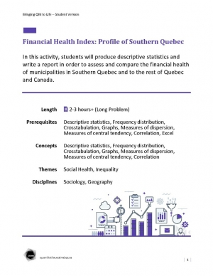 Financial Health Index: Profile of Southern Quebec