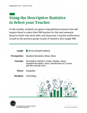 Using theDescriptive Statistics to Select your Teacher
