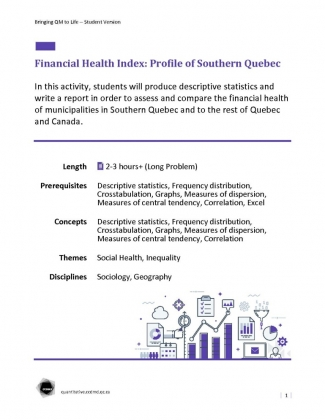 Document : Financial Health Index: Profile of Southern Quebec