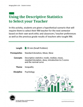 Document : Using theDescriptive Statistics to Select your Teacher